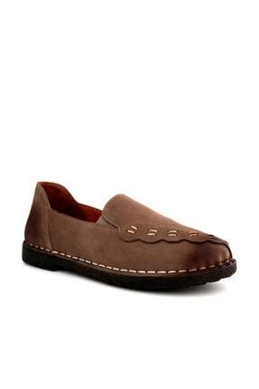 Beta Shoes Kadın Kahverengi Deri Babet