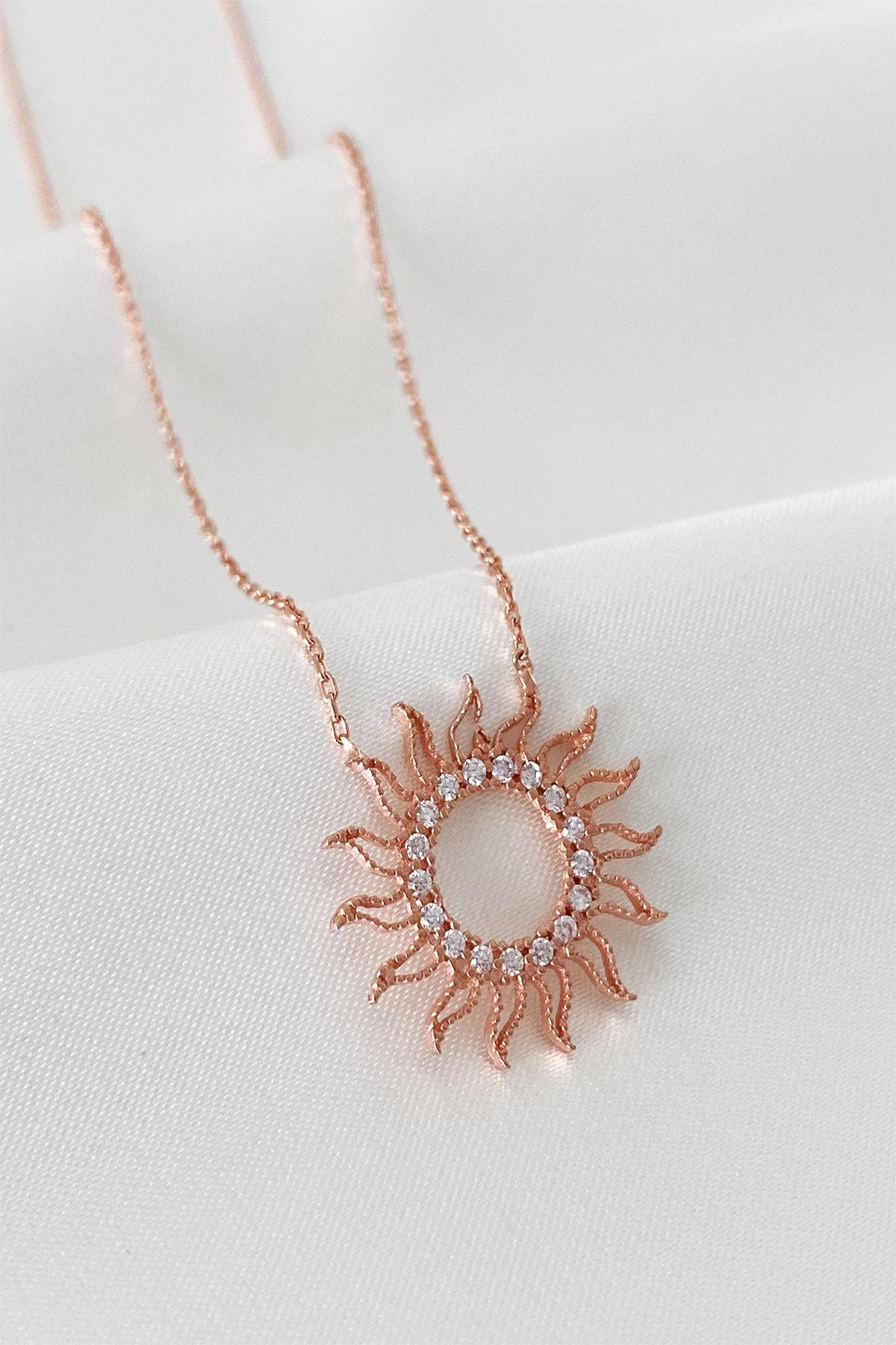 Mia Linda Jewelry Kadın Rose Altın Güneş Gümüş Kolye 2
