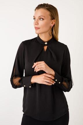 Ekol Kadın Siyah Dik Yaka İnci Düğmeli Bluz