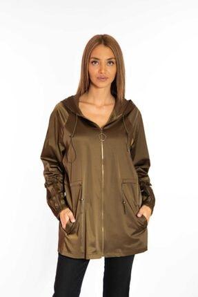 SEDNA Kadın Haki Kolu Fırfırlı Kapişonlu Ceket