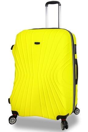 NK Unisex Sarı Abs Dayanıklı Büyük Boy Bavul Valiz
