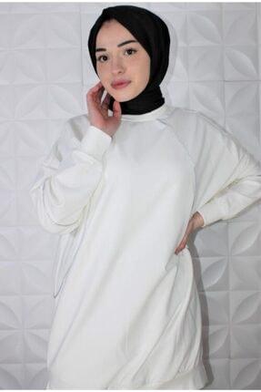 Loreen Kadın Sweatshirt Beyaz Biyeli