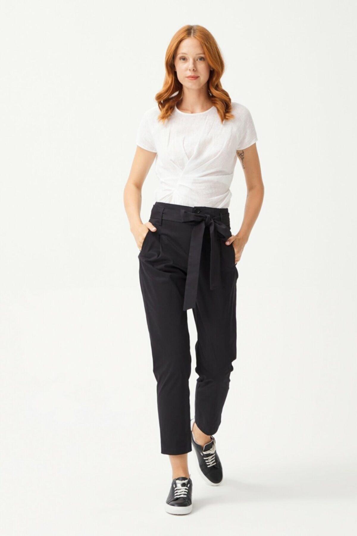 adL Kadın Siyah Düğmeli Pantolon 1