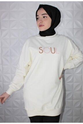 Loreen Kadın Beyaz Baskılı Sweatshirt