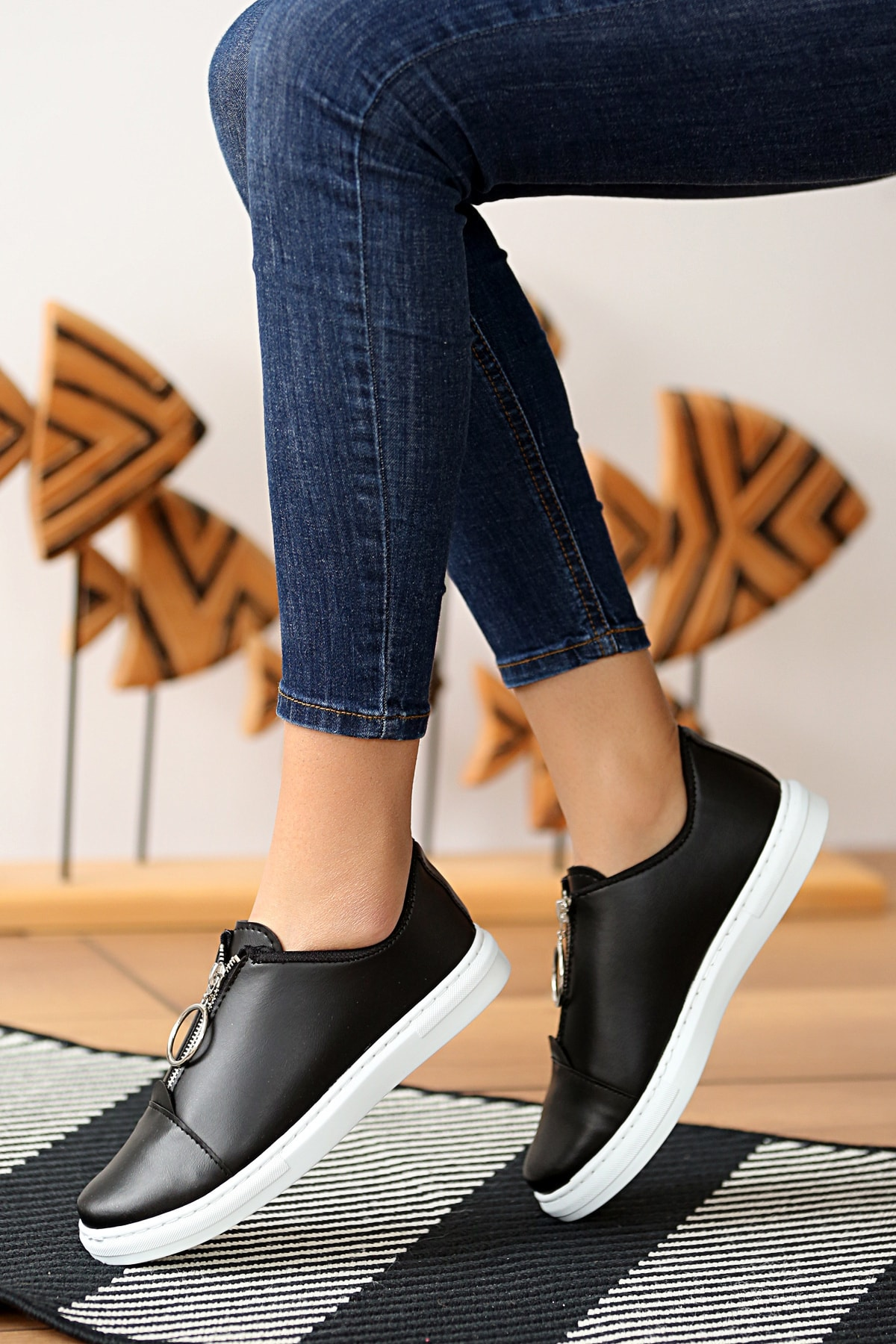 Pembe Potin Kadın Siyah Ayakkabı 1