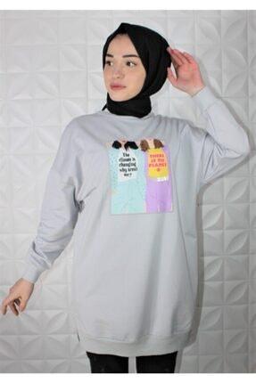 Loreen Kadın Gri Dijital Baskı Detay Sweatshirt