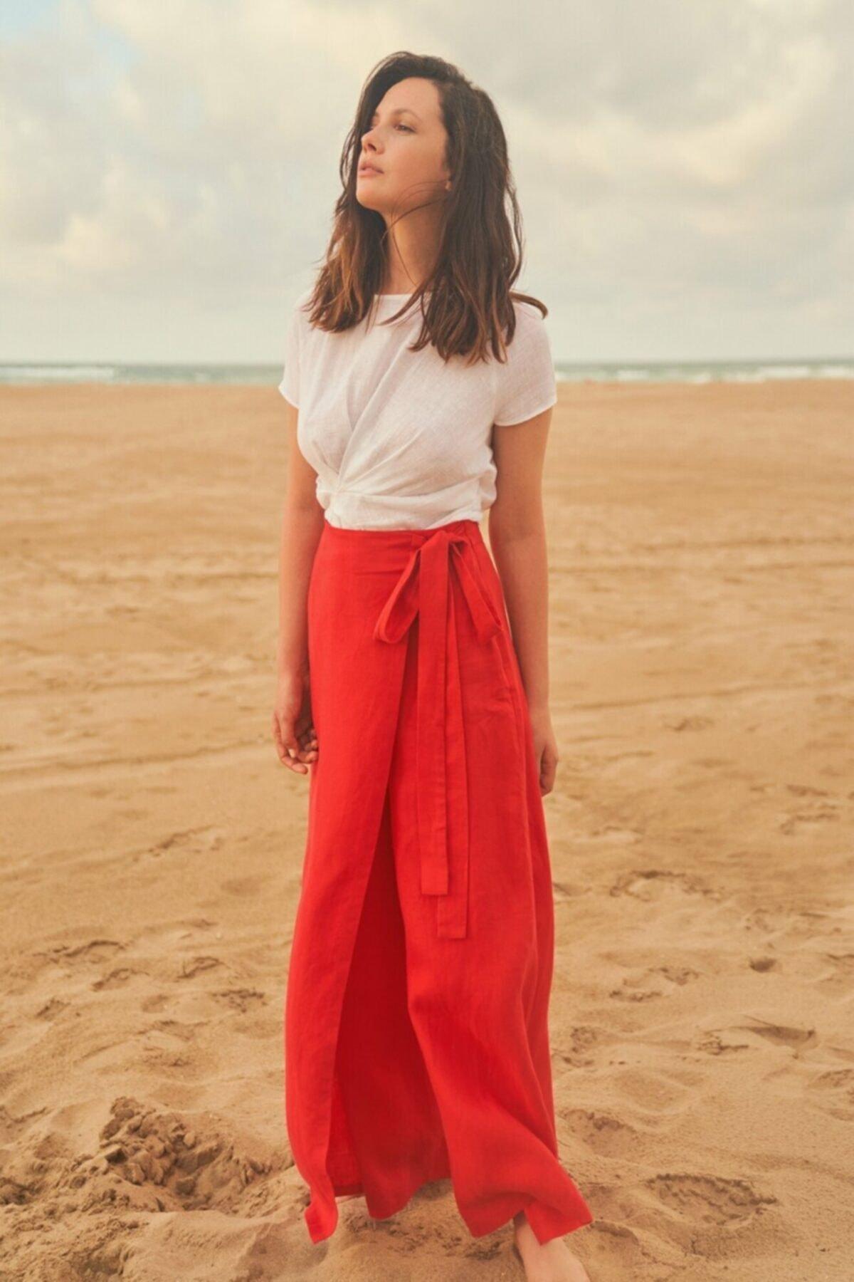 adL Kadın Kırmızı Bol Paça Pantolon 1