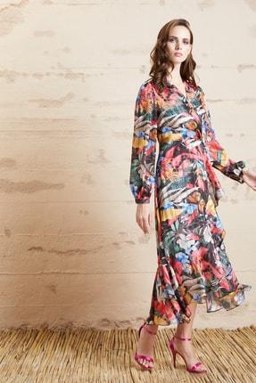 SERPİL Kadın Ekru Desenli Elbise