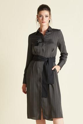 SERPİL Kadın Siyah Kemerili Çizgili Elbise