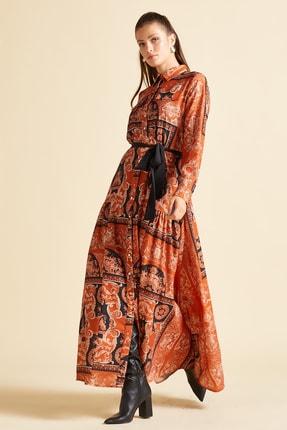 SERPİL Kadın Turuncu Beli Kuşaklı Desenli Elbise