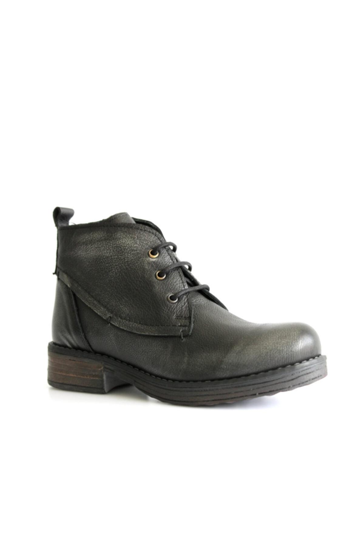 Beta Shoes Bot Hakiki Deri Kadın Gri 1