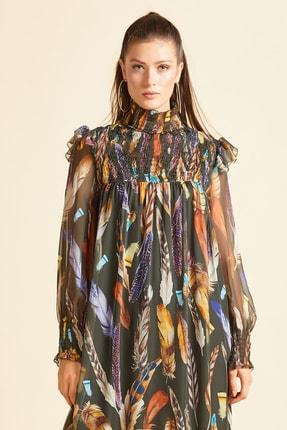 SERPİL Kadın Haki Kuştüyü Baskılı Elbise