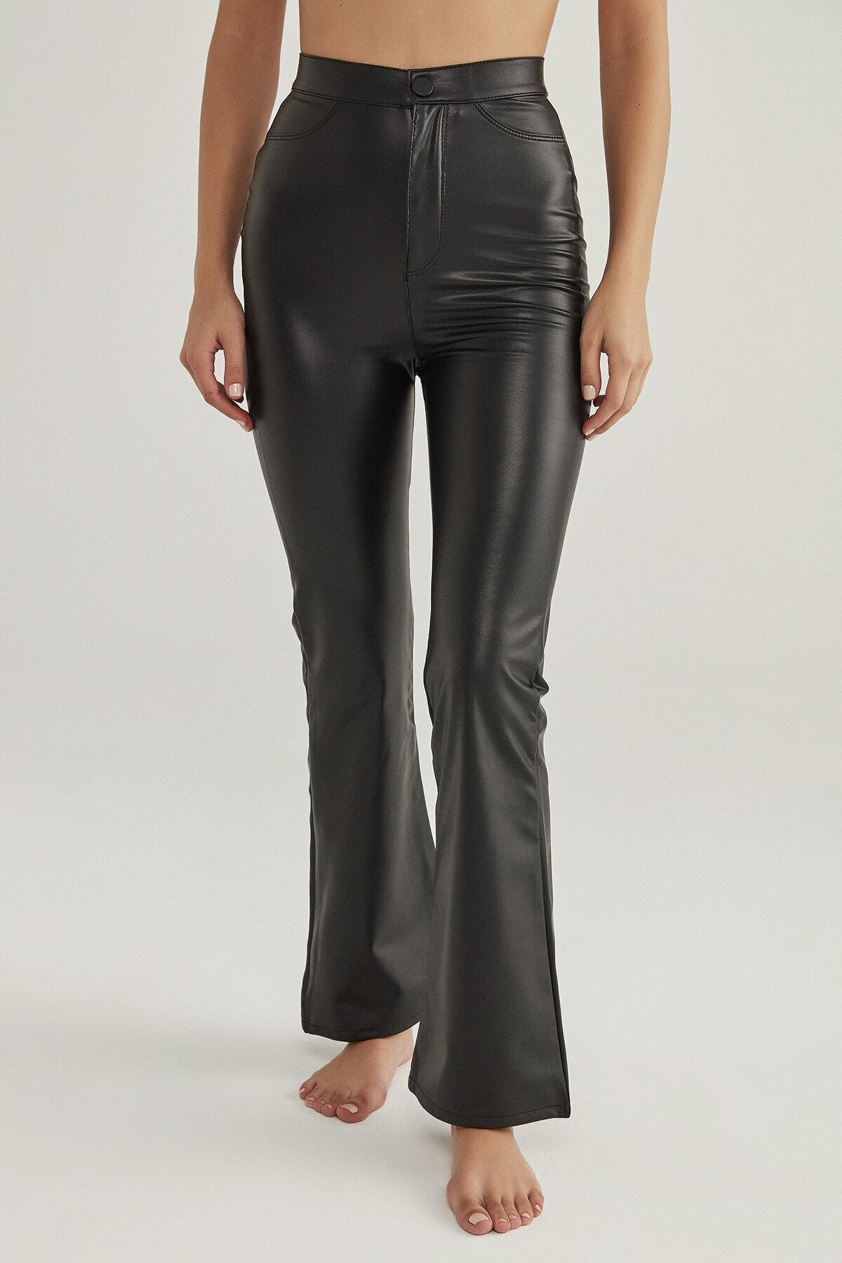 Penti Kadın Siyah Siyah Deri Görünümlü Flare Pantolon