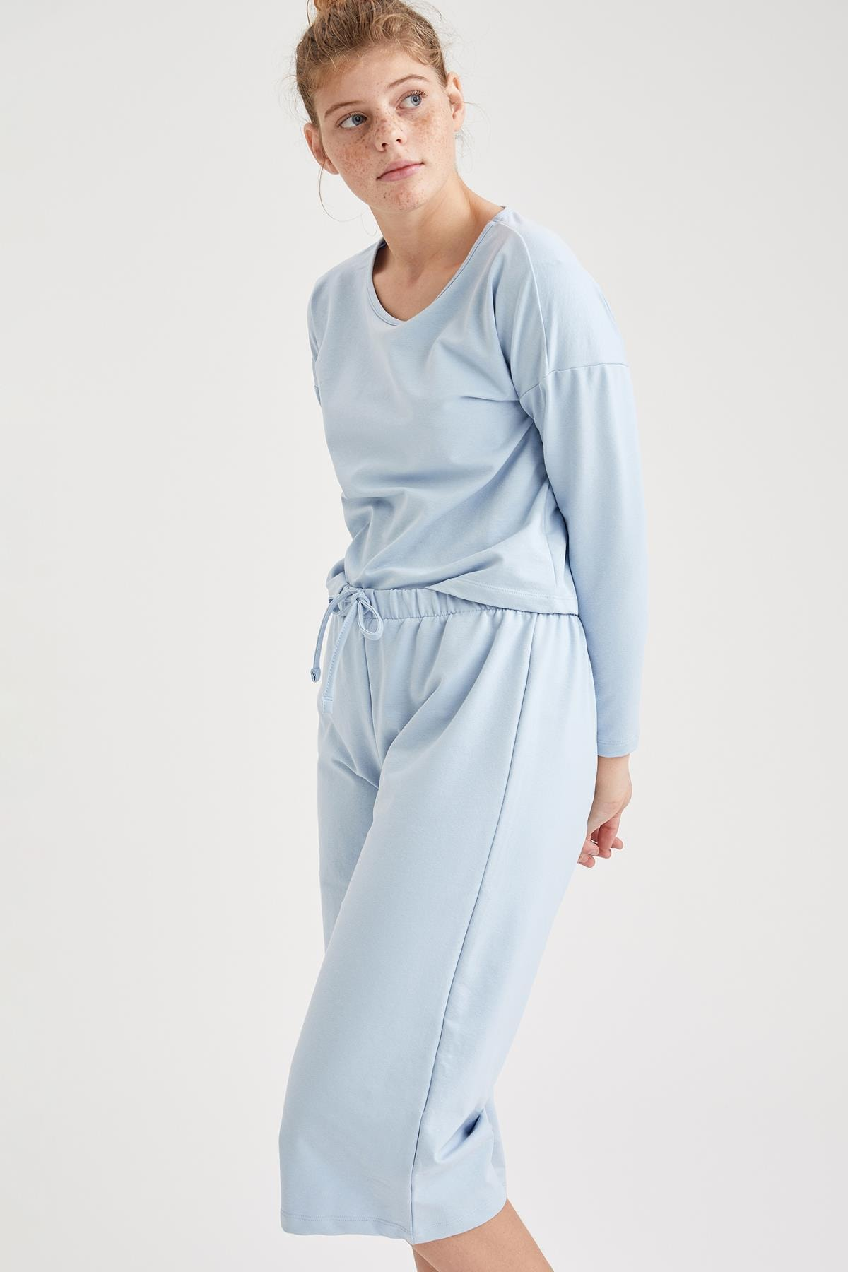 DeFacto Fit Kadın Blue Basic Uzun Kollu Pijama Üstü S6314AZ20HS