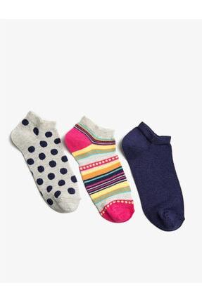Koton Kadin Lacivert 3'lü Çok Renkli Çorap
