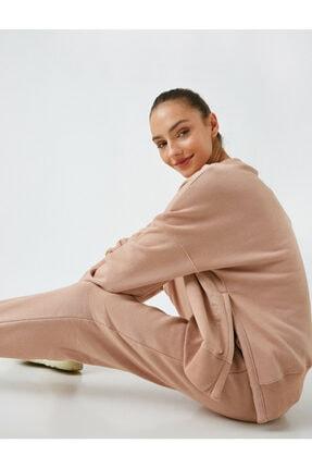 Koton Kadın Pembe Pamuklu Yırtmaç Sweatshirt
