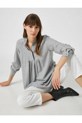 Koton Kadın Gri Mandarin Yaka 3/4 Kol Oversize Tunik