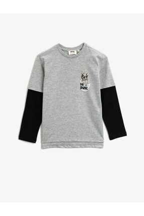 Koton Erkek Çocuk Gri Bisiklet Yaka Uzun Kollu Baskılı T-Shirt