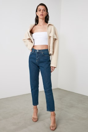 TRENDYOLMİLLA Lacivert Yüksek Bel Mom Jeans TWOAW21JE0684