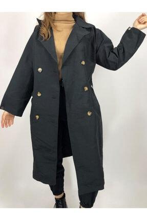 Amorestia Kadın Siyah Düğmeli Uzun Trechcoat