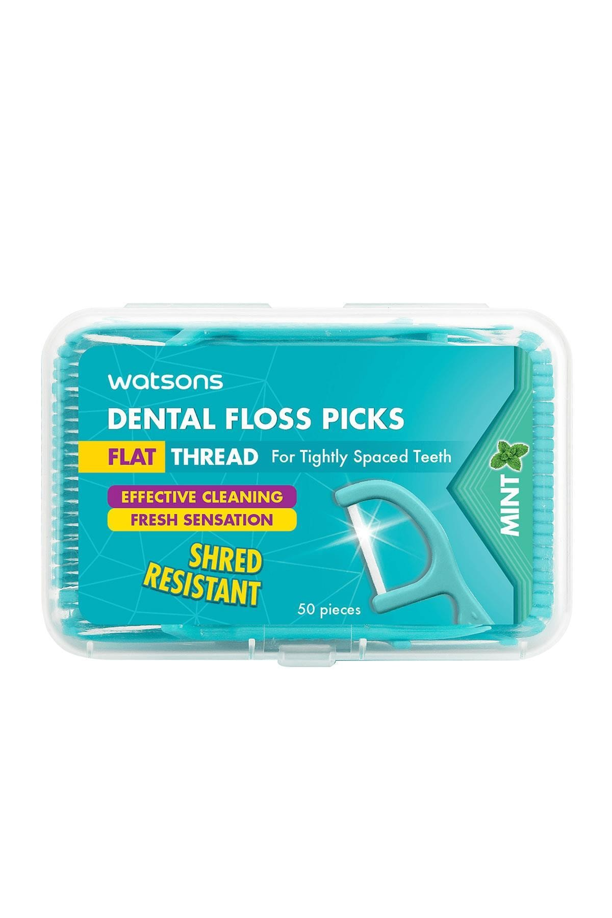 Watsons Mint Flat ThDental Floss Picks 50sx1box 4894532391141