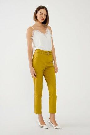 adL Kadın Sarı Lime Çift Kuşaklı Pantolon