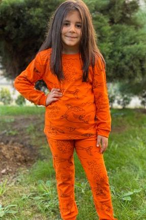 esbabe Unisex Balık Baskılı Turuncu Çocuk Pijama Takımı