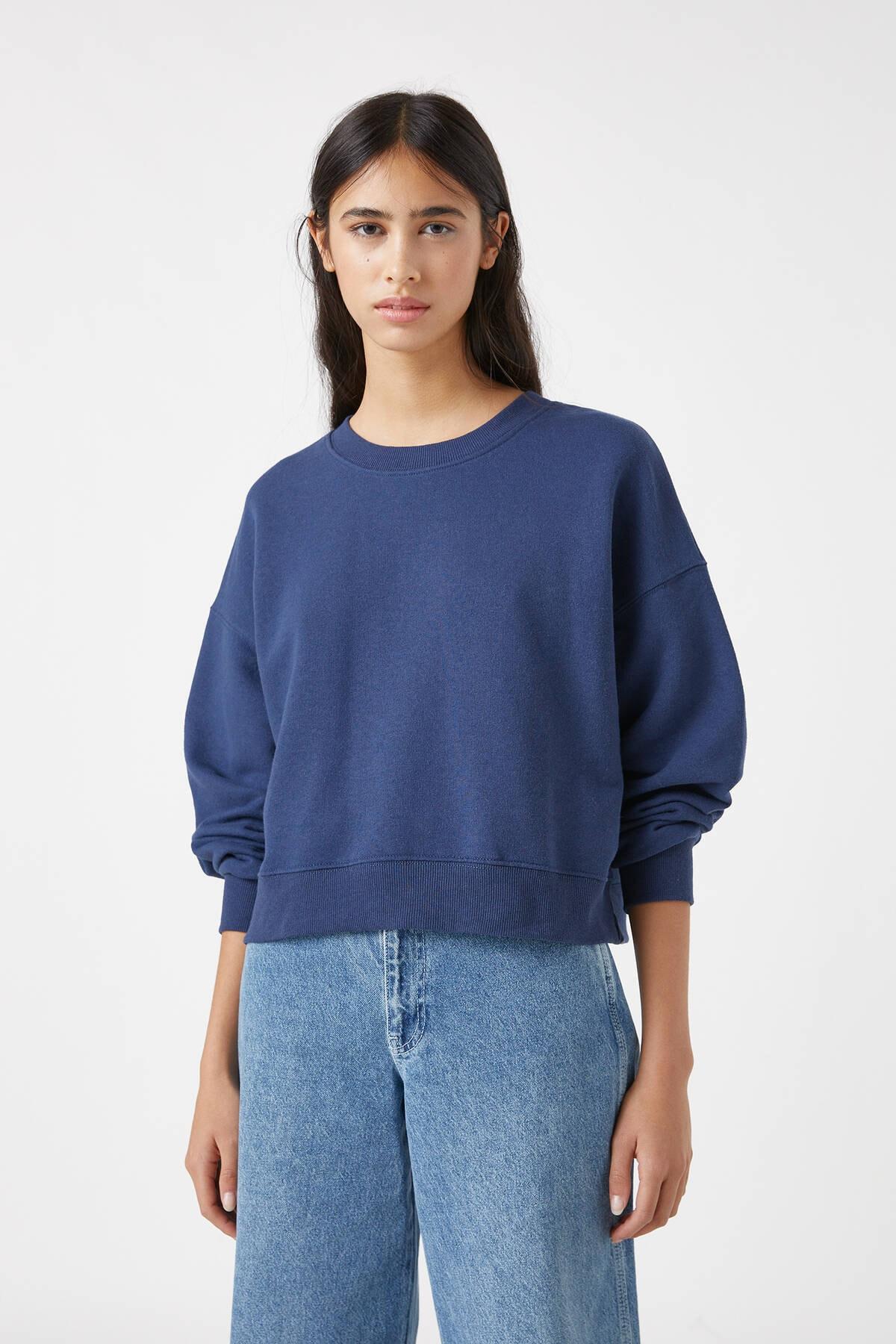 Pull & Bear Kadın Lacivert Geniş Fitilli Şeritli Basic Sweatshirt. 05596402