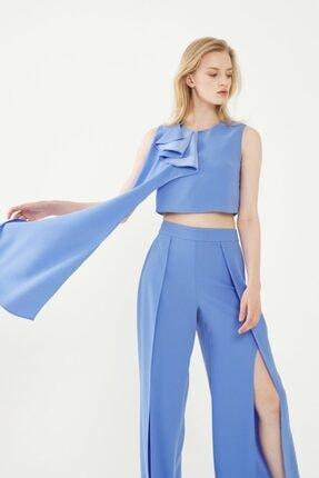 adL Kadın Mavi Yakası Volanlı Asimetrik Crop Bluz