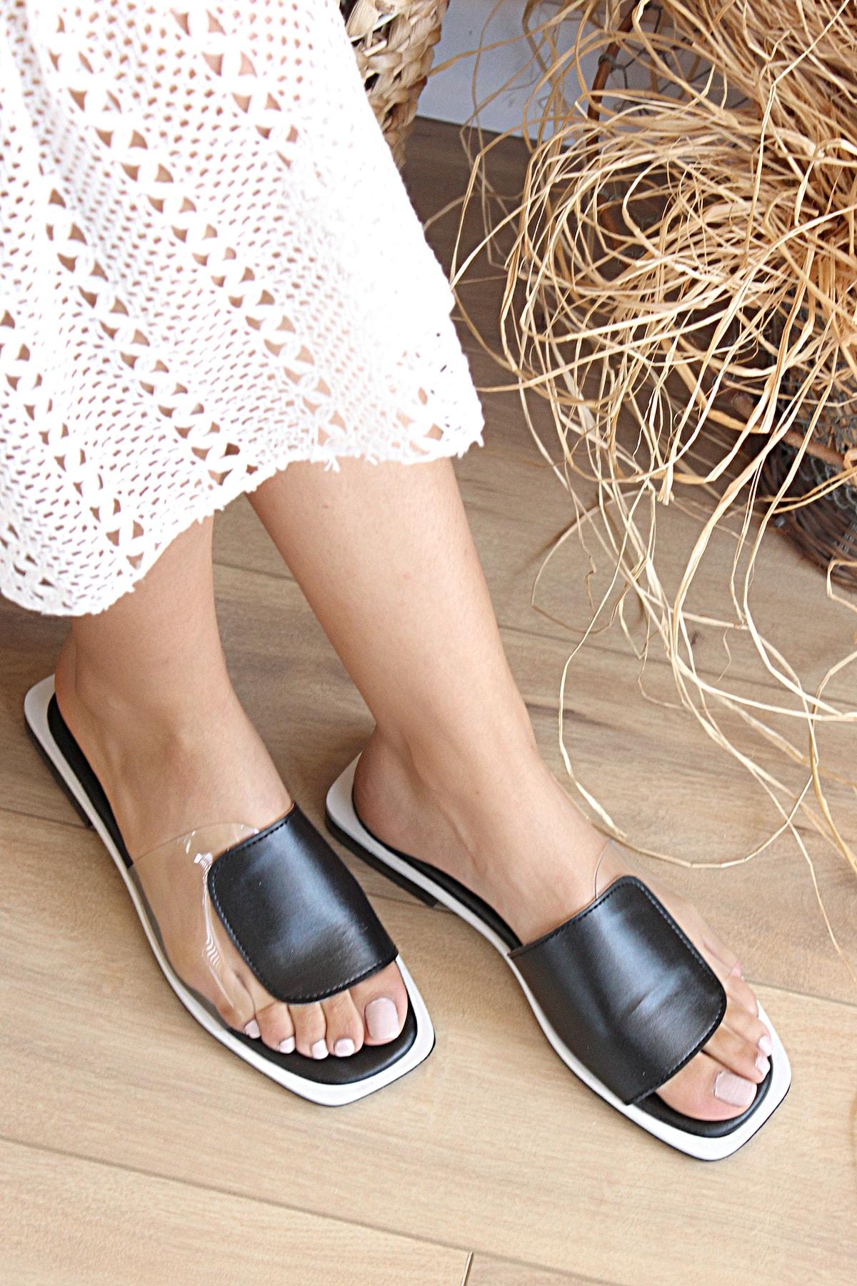 Pembe Potin Kadın Siyah Beyaz Sandalet 2