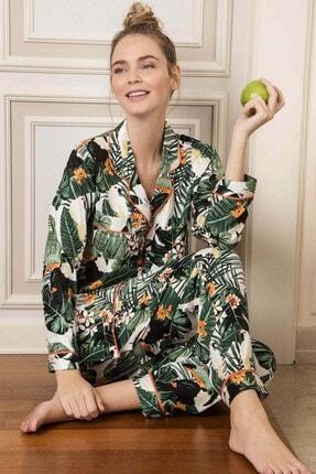 Lohusa Sepeti Kadın Yeşil Önden Düğmeli Pijama Takımı