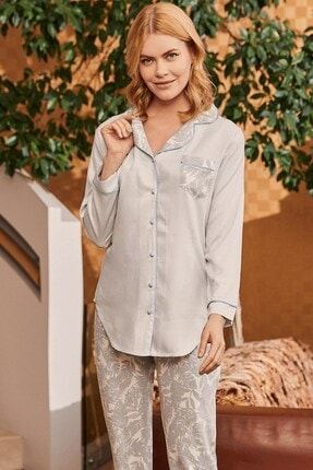 Lohusa Sepeti Kadın Mavi Camilla Önden Düğmeli Pijama Takımı
