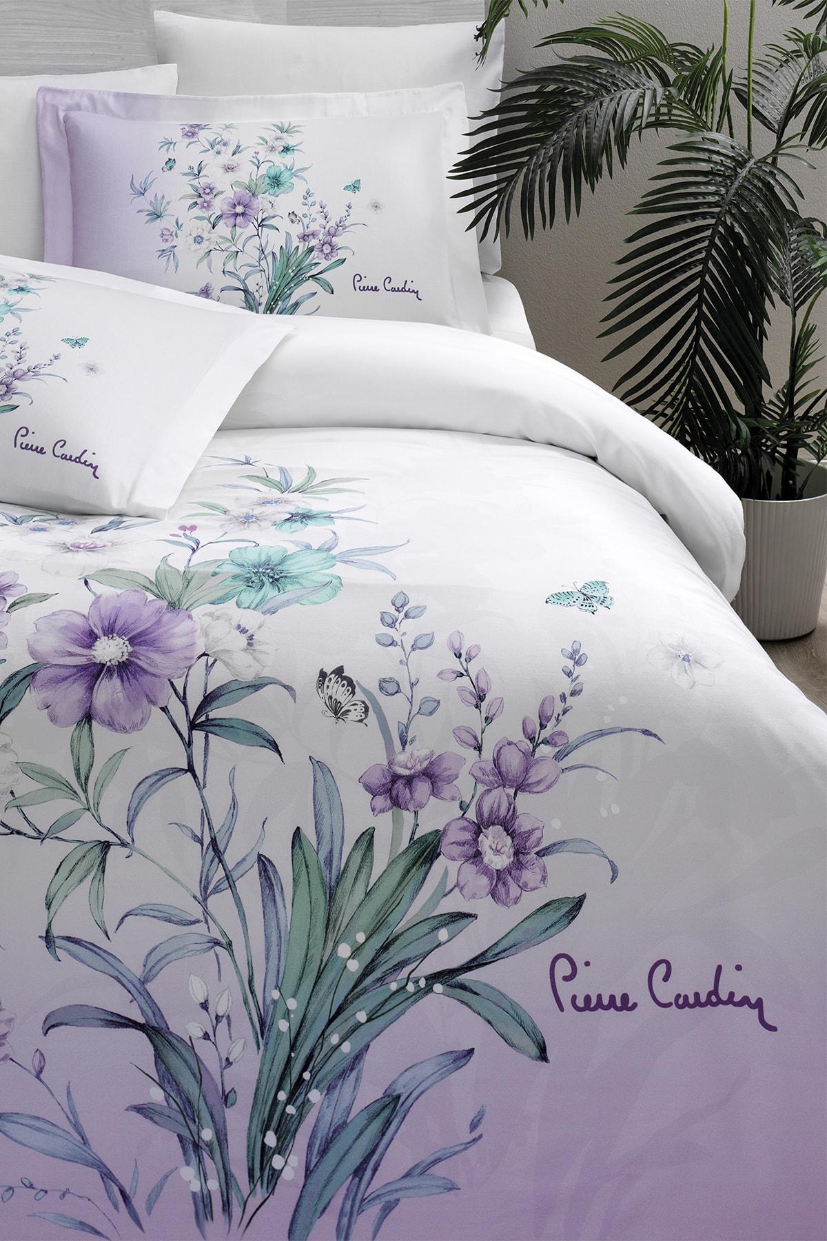 Pierre Cardin Saten Nevresim Takımı Çift Kişilik Floral