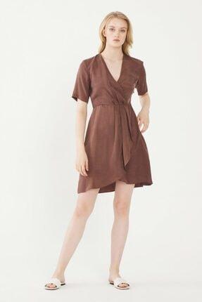 adL Kadın Kahverengi Kısa Kol Elbise 12436439001010
