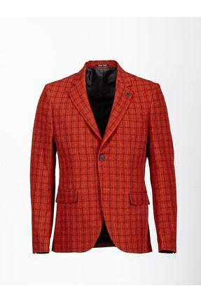 Mcr Erkek Oranj Kareli Slimfit Ceket