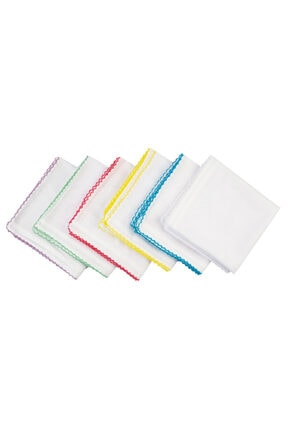 Kezban Tekstil Beyaz Oyalı  Pamuklu Tülbent Iç Başörtüsü 5 Adet 90x90