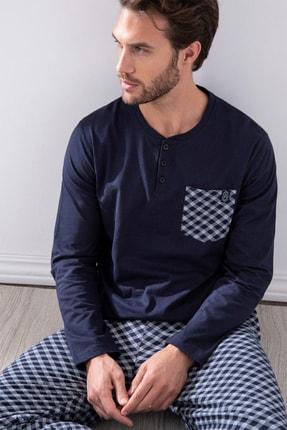 AYYILDIZ Erkek Lacivert Yuvarlak Yakalı Pijama Takımı 54769