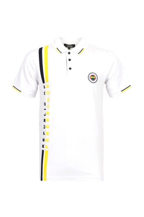 Fenerbahçe Erkek Beyaz Tribun Boyuna Çizgili Polo T-Shirt
