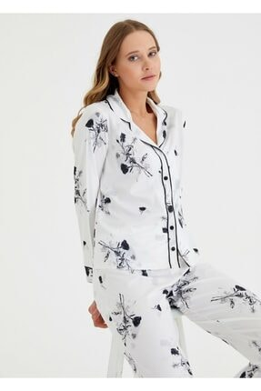 SUWEN Kadın Ekru Baskılı Japon Rose Maskulen Pijama Takımı