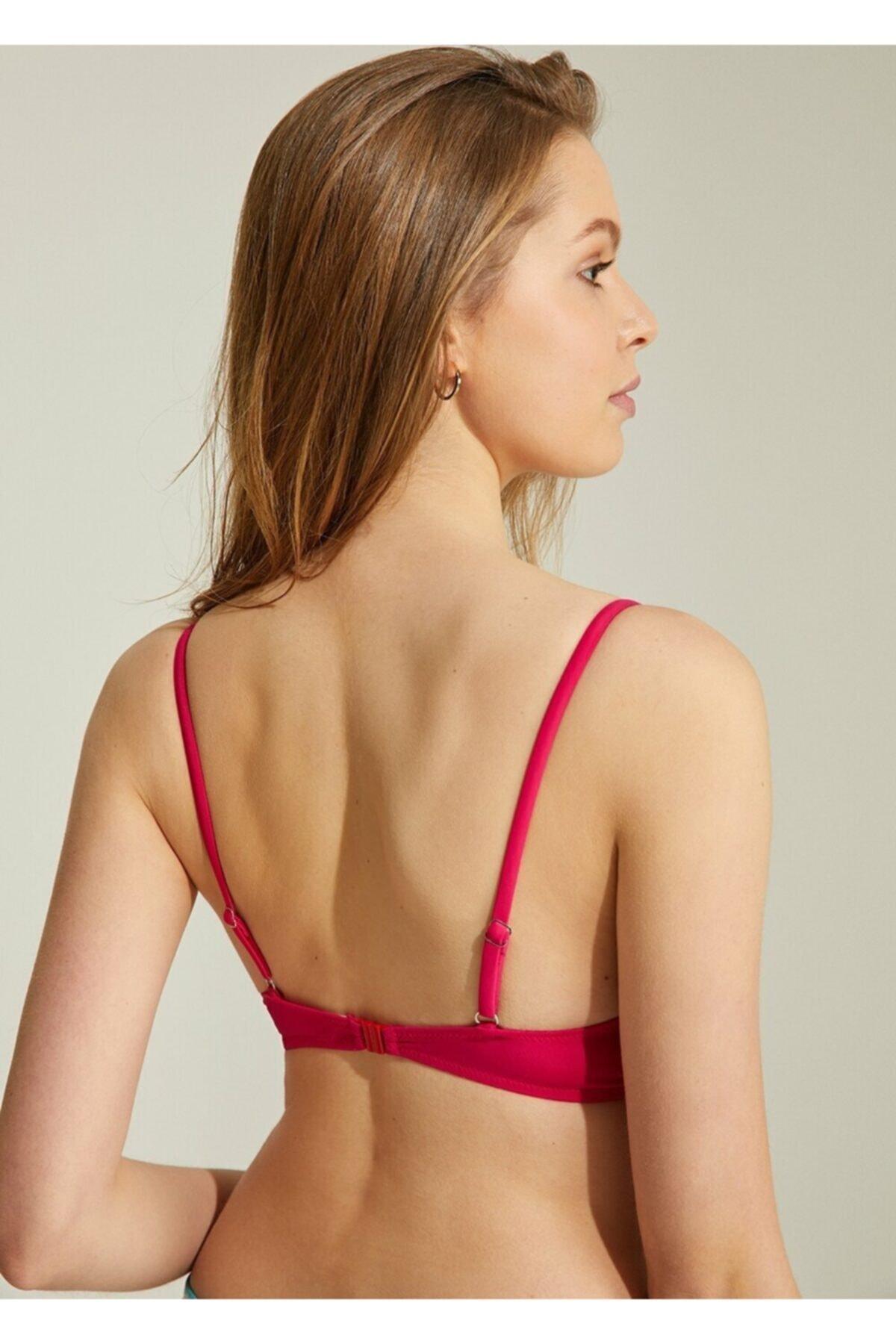 SUWEN Kadın Pembe Önden Bağcıklı Full Dolgulu Bikini Üst 2
