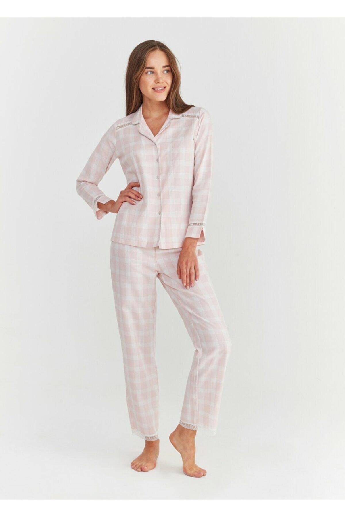 SUWEN Kadın Pembe Ekoseli Sofia Maskulen Pijama Takımı 1
