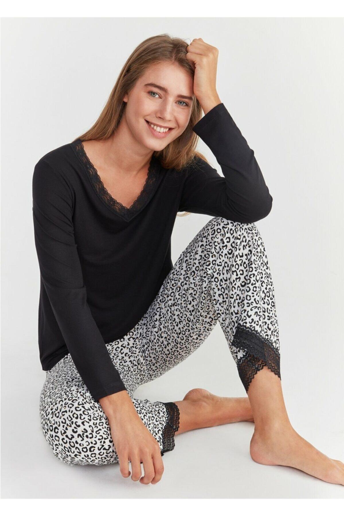 SUWEN Kadın Leopar Baskılı Leo Pijama Takımı 1