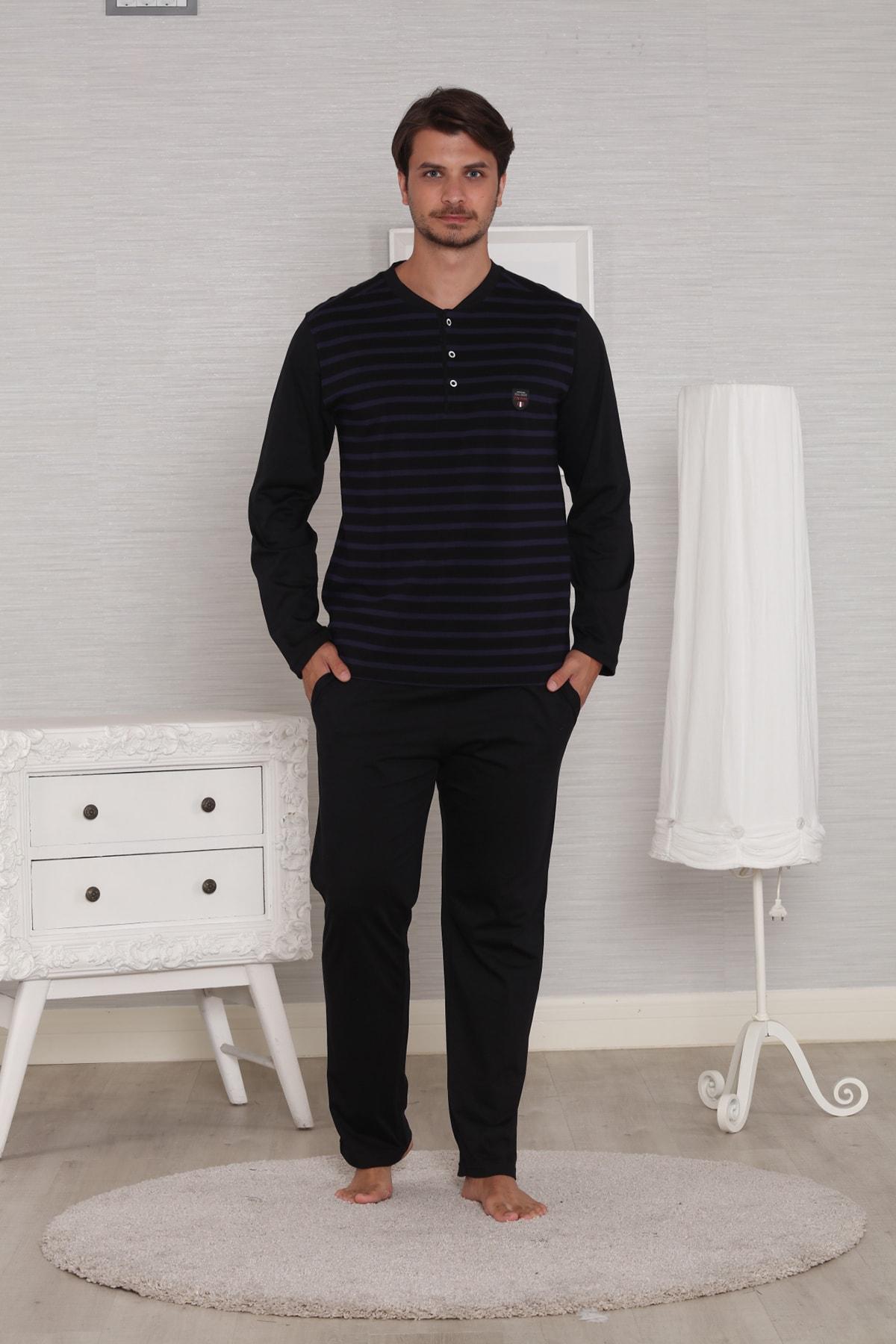 Pelin  Erkek Siyah Jakarlı Uzun Kollu Kışlık Penye Pijama Takımı 1