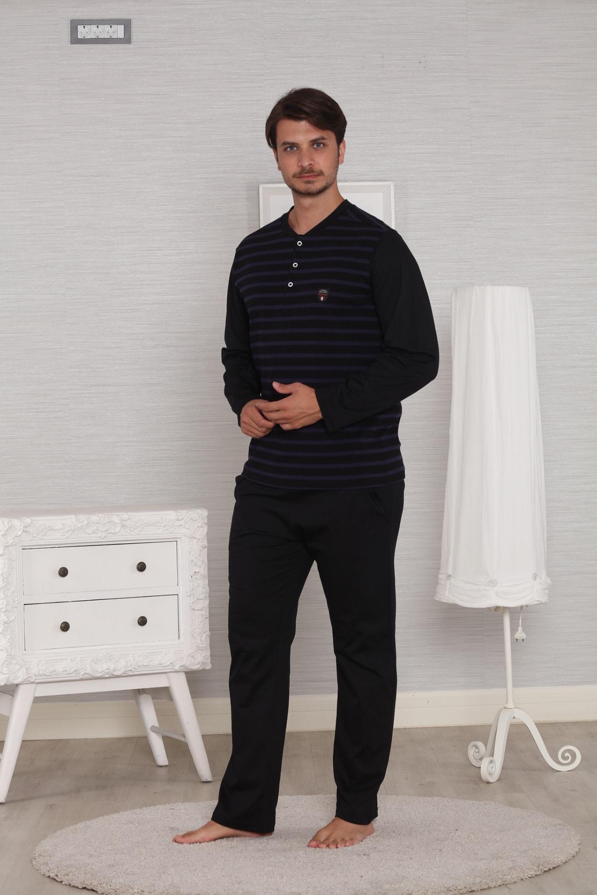 Pelin  Erkek Siyah Jakarlı Uzun Kollu Kışlık Penye Pijama Takımı 2