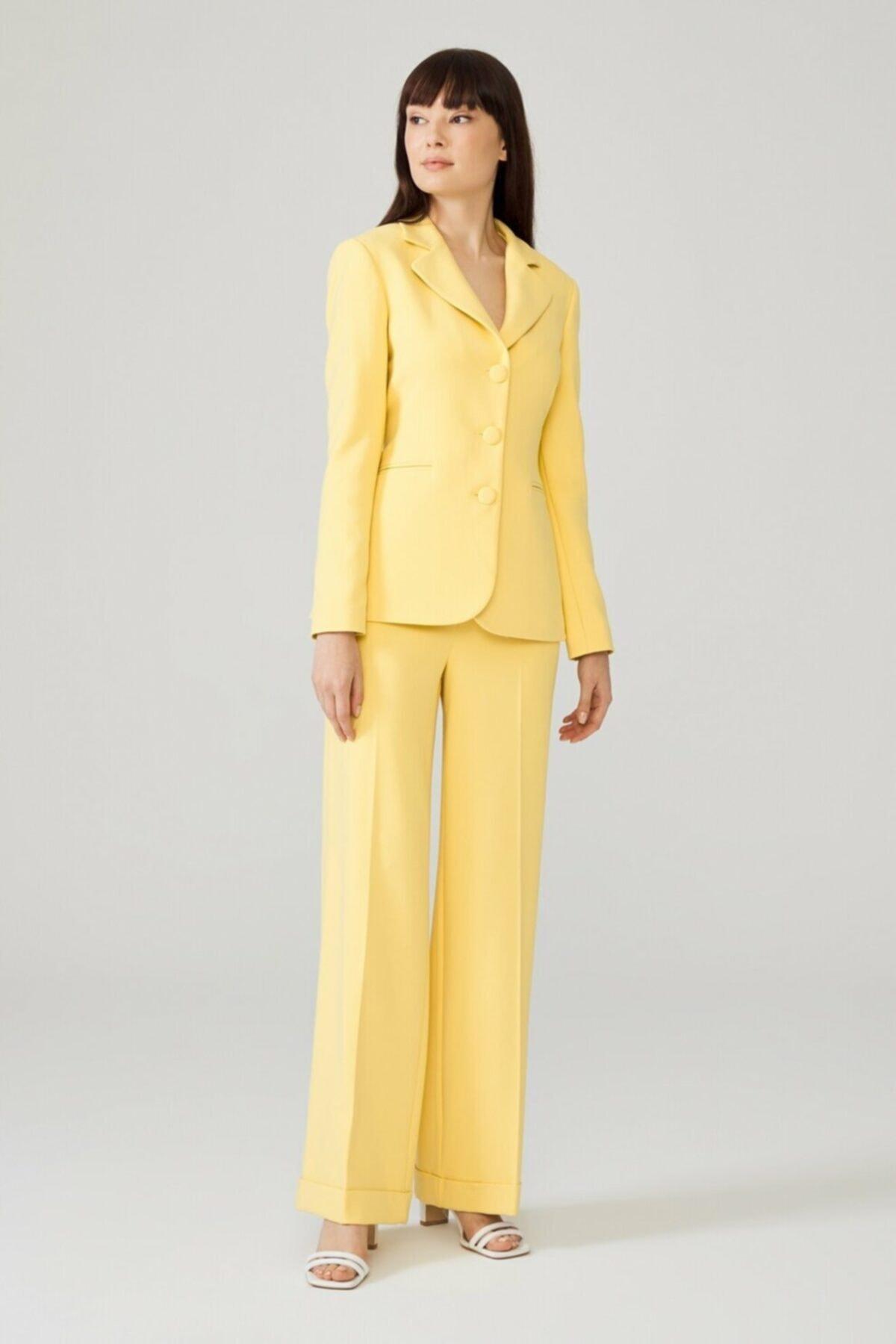 adL Kadın Sarı Duble Paça Pantolon 15338312000004 1