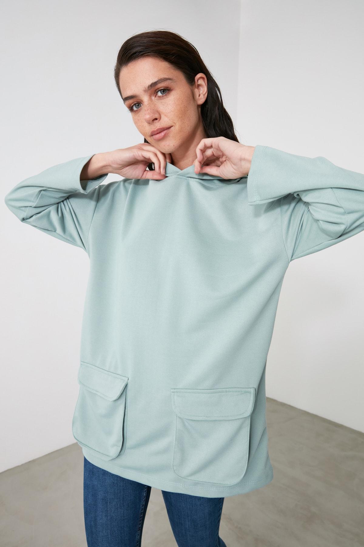 TRENDYOLMİLLA Mint Cep Detaylı Kapüşonlu Örme Sweatshirt TWOAW21SW1318 1
