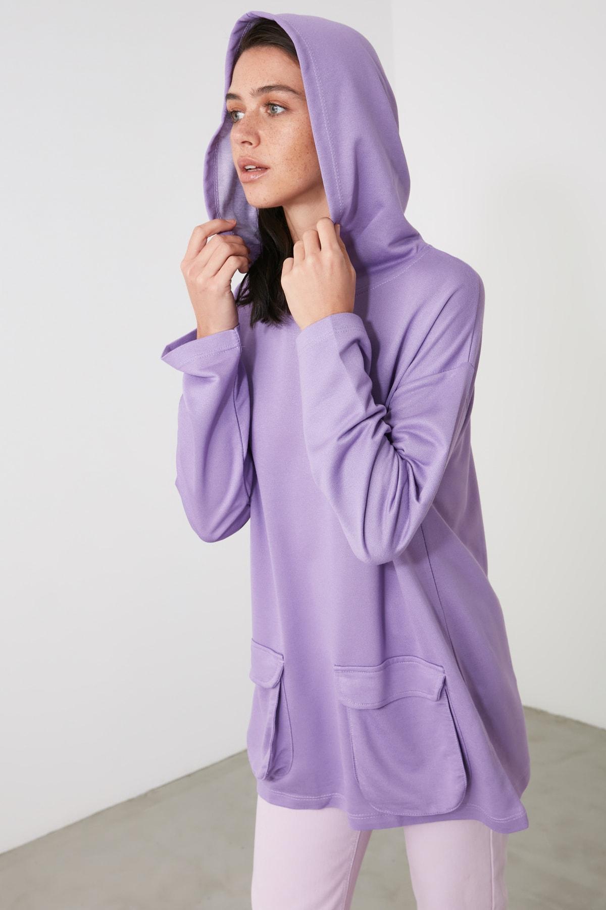 TRENDYOLMİLLA Lila Cep Detaylı Kapüşonlu Örme Sweatshirt TWOAW21SW1318 1