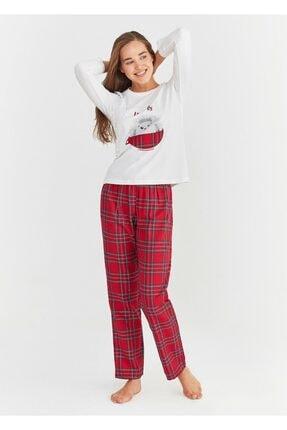 SUWEN Kadın Kırmızı Ekoseli Pijama Takımı