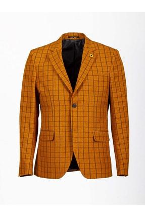 Mcr Erkek Sarı Kareli Slimfit Ceket