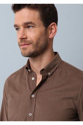 Ramsey Erkek Vizon Fitilli Dokuma Uzun Kollu Gömlek